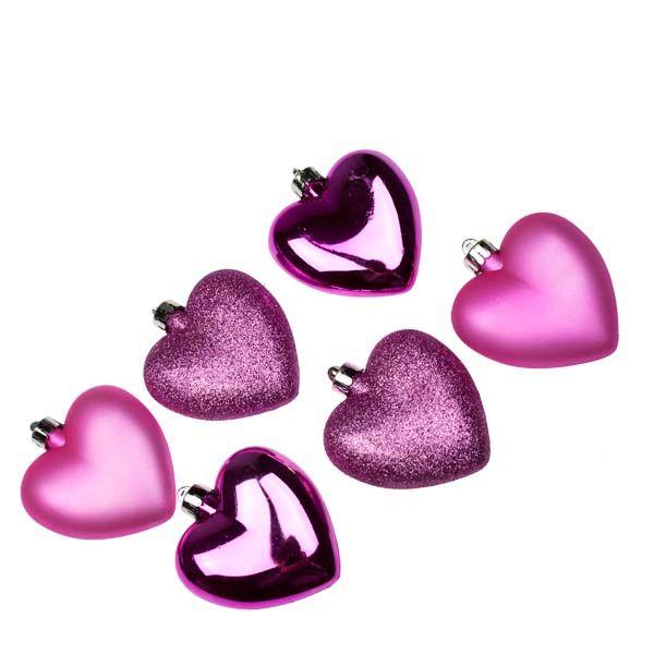 Bright Pink Shatterproof Hearts Mixed Finish - 6 X 70mm