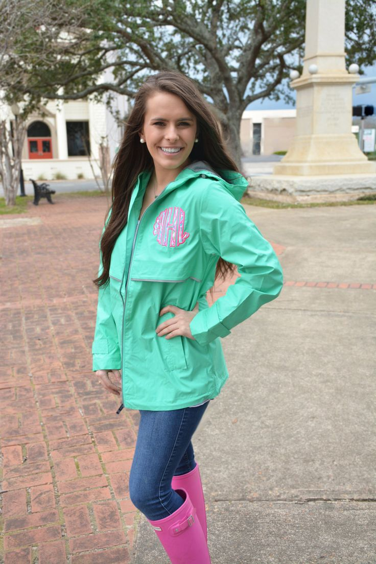 Monogram Rain Jacket Preppy Charles River New Englander Rain Jacket with Scalloped Lilly Pulitzer Monogram Wind Jacket by TantrumEmbroidery on Etsy