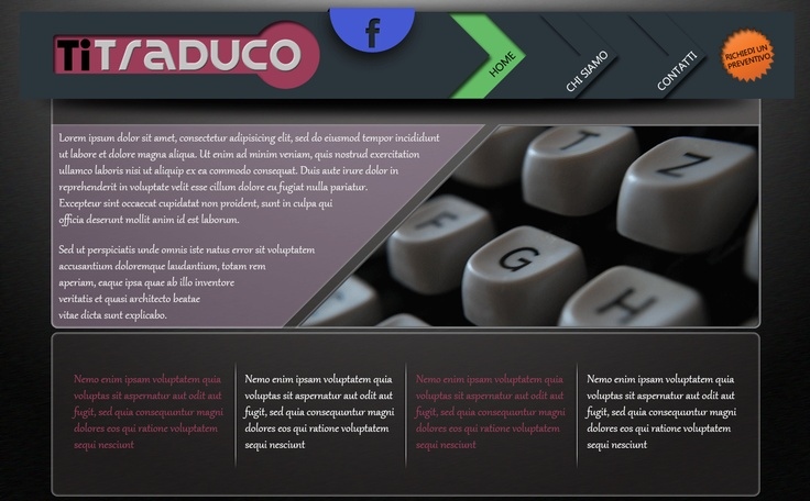 Layout per un sito web di traduzioni  Essenziale ma carino. • Simple web layout for a translations website