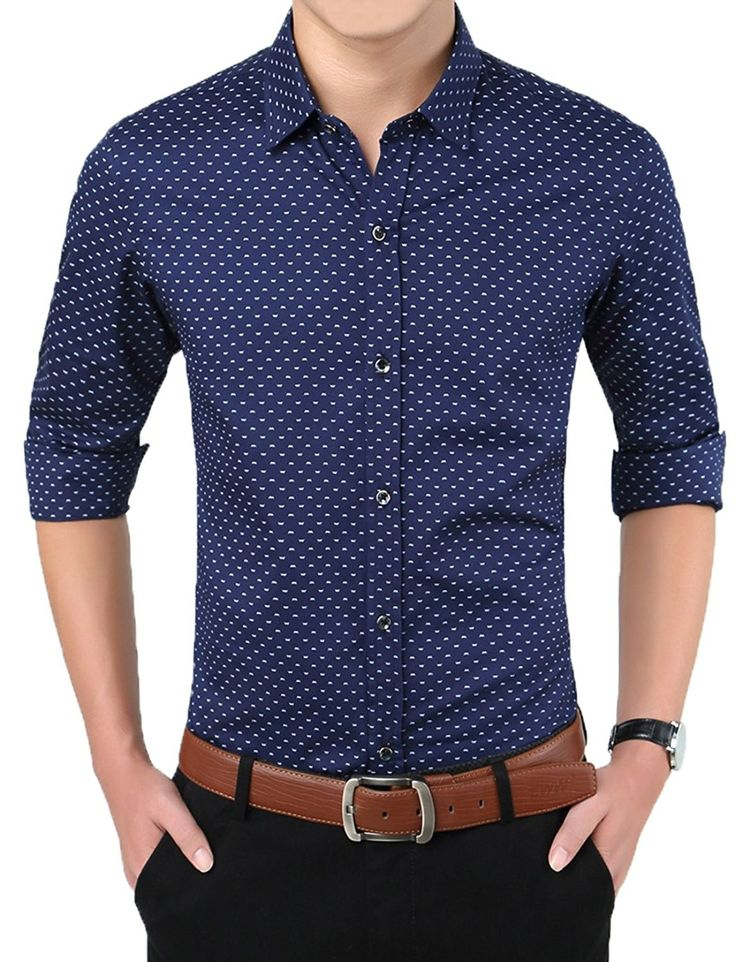Men casual slim fit printed long short sleeve button down