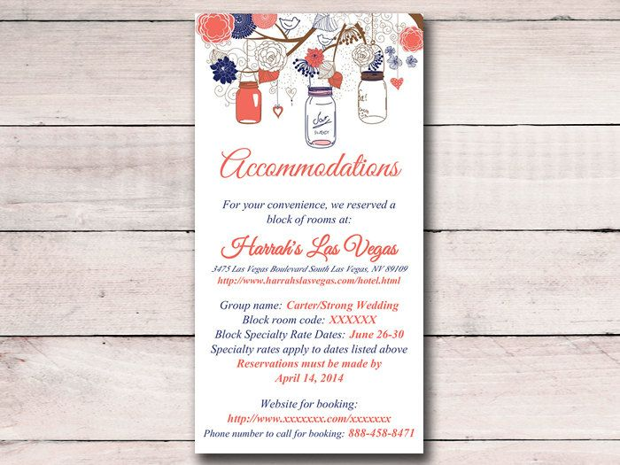 wedding accommodation card template free