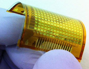 Paper-thin e-skin responds to touch, holds promise for sensory robotics and interactive environments, The new electronic skin, or e-skin, responds to touch by instantly lighting up. The more intense the pressure, the brighter the light it emits.