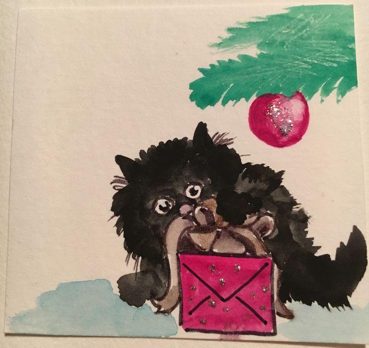 Schwarze Katze Weihnachten