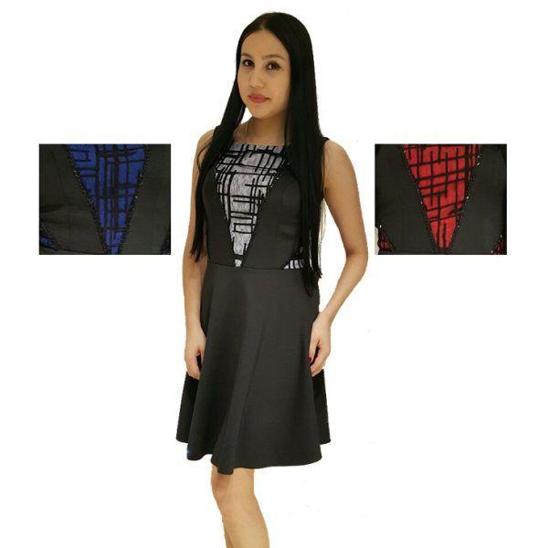 Kısa Abiye Elbise | Valiente  Siyah scuba kumaş üzerine saks mavisi, kırmızı ve lila varyantları olan bu abiye elbise modelinin öndeki V şeklindeki parçasına renkli kumaş üzerine siyah tül ile garni yapılmıştır. Kenar hattına boncuk işlemesi V şeklinde yapılmıştır.  Beden: 38, 40  Renkler: Saks Mavi, Kırmızı, Lila  Stok Kodu: 113  #toptanabiye #toptanabiyeelbise