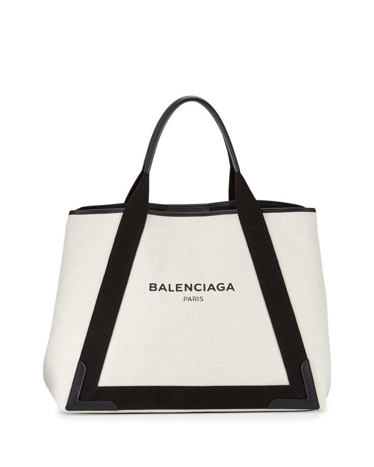 Cabas Medium Canvas Logo Tote Bag, Black/Natural, Women's - Balenciaga
