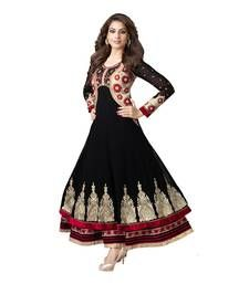 Buy Black embroidered georgette semi-stitched salwar with dupatta anarkali-salwar-kameez online