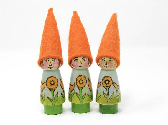 October Birth Flower Gnome Calendula Gnome painted flower