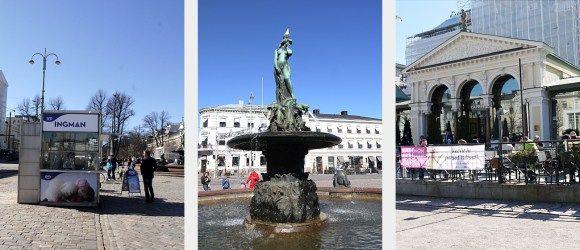 Market Square and Esplanade park in Helsinki, Finland. Sights, Restaurant Kappeli, Havis Amanda.