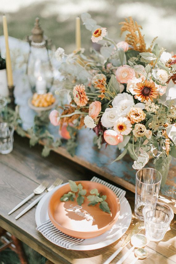 Terracotta Place Settings Fall Wedding Flowers Spring Wedding