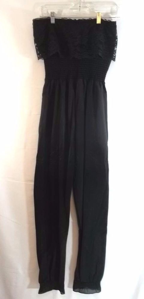 Strapless Jumpsuit Womens Black S Lace Ruffle Top Empire Waist #Unbranded #Jumpsuit