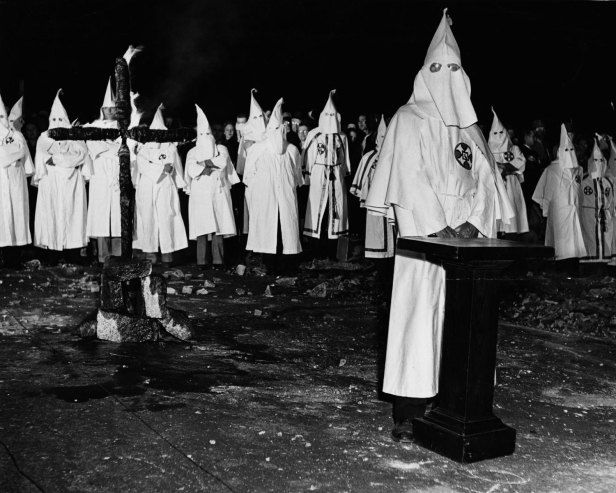 Not published in LIFE. The scene at a Ku Klux Klan initiation ritual in Georgia, May 1946.