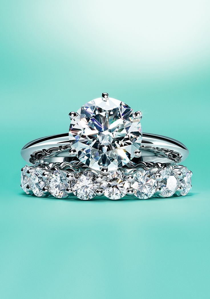 The TiffanyR Setting Engagement Ring And Tiffany EmbraceR Wedding Band In Platinum