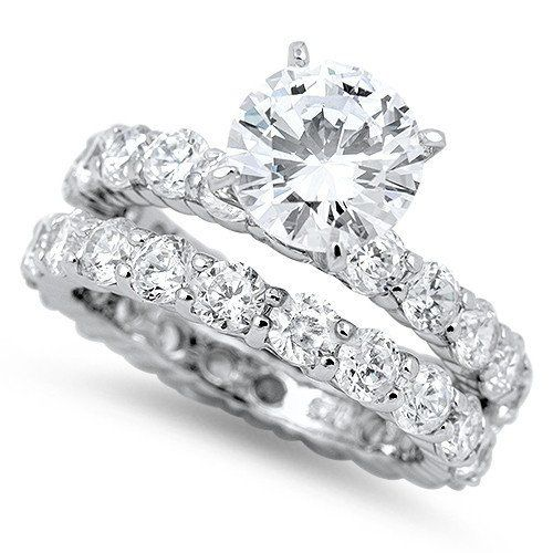 A Perfect 2.9CT Round Cut Halo Russian Lab Diamond Bridal Set Wedding Band Rings