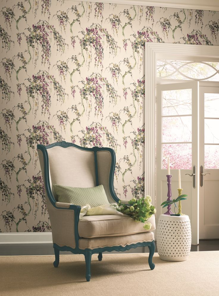 A pretty weeping willow wallpaper design in pink and green on a cream background, from the Watercolours collection by Carey Lind Designs, WT4556 by York Wallcoverings. Available through Guthrie Bowron stores in New Zealand.