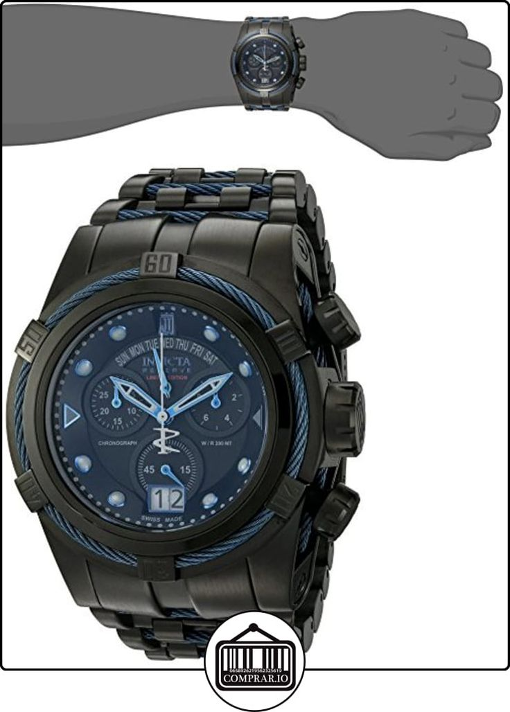 Invicta 12951 Mens SPECIAL EDITION Caja de acero Jason Taylor Reserva Perno Acero y Tono Pulsera Negro Dial Chronograph Reloj  ✿ Relojes para hombre - (Lujo) ✿