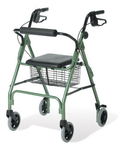 """Envoy 460 - Economy Rolling Walker, Blue by Medline. $112.00. Envoy 460 - Economy Rolling Walker, BlueQuantity: 1 EA = (1 EA/EA,1 CS/EA)Recommended Billing Code (HCPCS): E0143 + E0156 Envoy 460 - Economy Rolling Walker: Weighing 15.5lbs., the lightweight, anodized aluminum frame with 6"""" wheels loads into vehicles with ease. Loop style brakes control speed and easily lock wheels while seated. Padded seat and backrest provide comfort. Store personal items securely in basket unde..."""