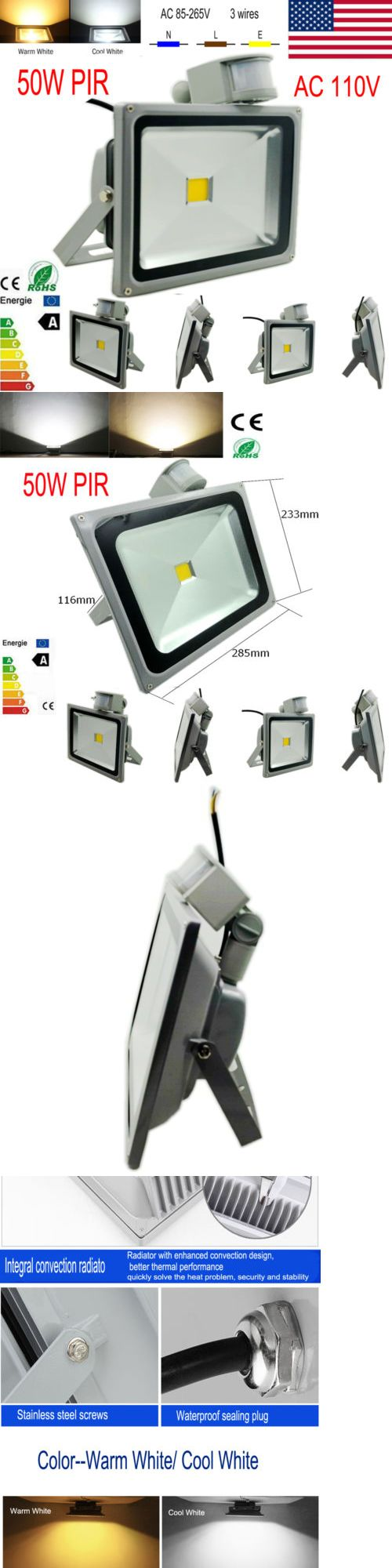 farm and garden: 50W 110V Outdoor Flood Light Led Cool White Pir Motion Sensor Security Spotlight BUY IT NOW ONLY: $400.0