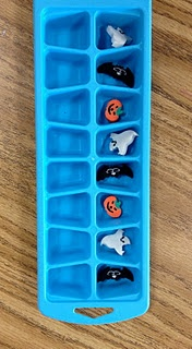 you can do so much with an ice tray - patterns, more than less than, sorting, etc etc!: