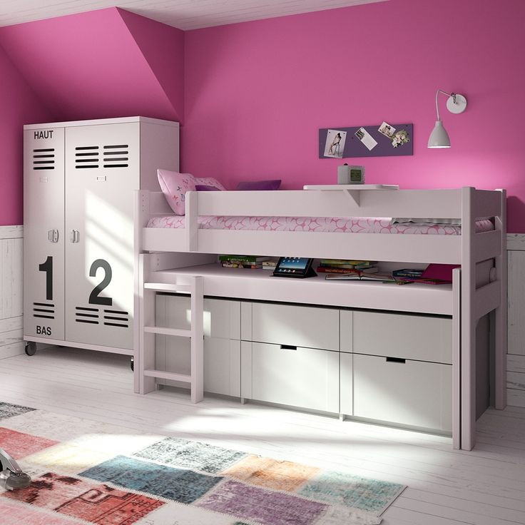KIDS MID SLEEPER BED WITH DRAWERS & ROLLING DESK