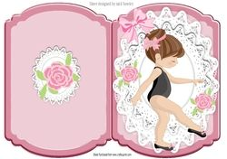 little ballet dancer with roses and bow on lace bracket card on Craftsuprint - View Now!