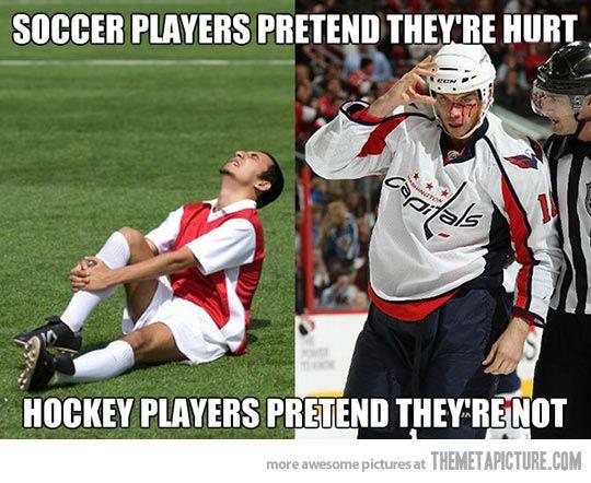 Soccer Vs Hockey Funny Hockey Soccer Sports Humor