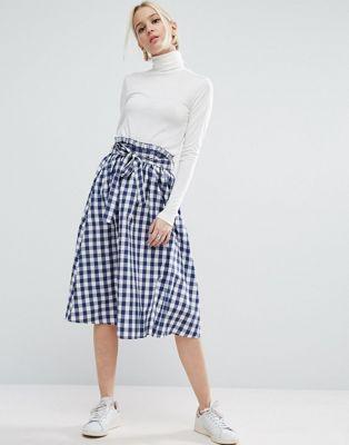 ASOS Gingham Midi Skirt with Paperbag Waist