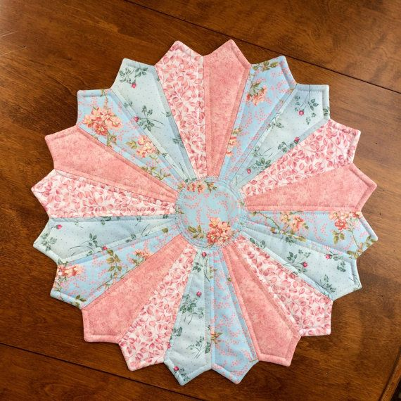 Dresden Plate Quilt French Country Blue & Pink Floral Quilted
