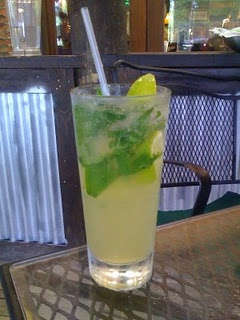 The Mexican Mojito:  5-6 mint leaves, torn up  Half of one key lime (cut into 2 wedges) or 2 regular lime wedges  3/4 oz 1800 Silver Tequila  3/4 oz Cointreau  1 oz Sweet & Sour Mix (we use Mr. & Mrs. T)  1/2 oz Agave Nectar Syrup (I find this in my organic section at Publix)  2 oz club soda    In the glass you will be sipping from, place your torn mint leaves. Squeeze the juice from your limes into the glass & then drop limes in. Take a muddler or back of spoon & gently smash the mint…