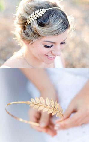 Gorgeous gold leaf bridal crowns