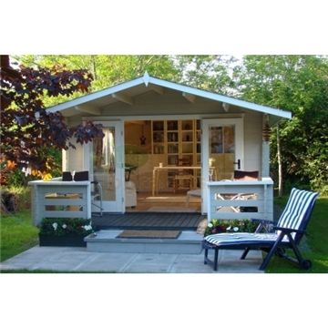 Relax - 13ft x 10ft (4m x 3m) SERRE Log Cabin - Base Price for 34mm Wall Thickness