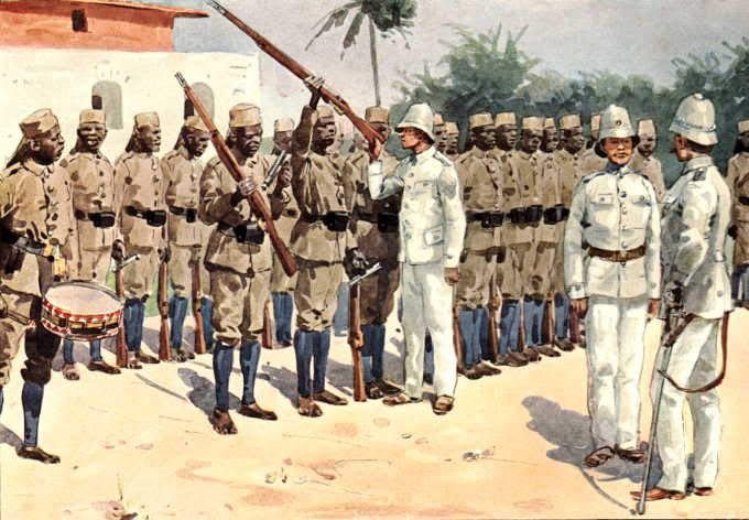 An illustration depicting African Askari colonial troops under inspection by German officers of the East Africa colony.