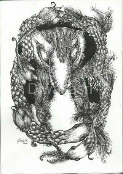 Lady Bird, ink drawing on paper by Mia Diwasasri
