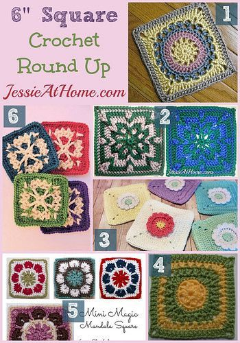6 inch crochet squares round up from Jessie At Home *༺✿ƬⱤღ  http://www.pinterest.com/teretegui/✿༻*