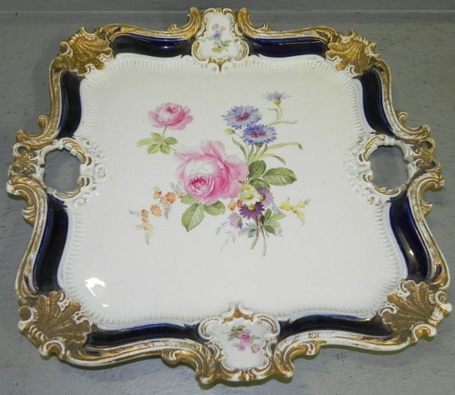 Beautiful cross sword Meissen dresser tray.
