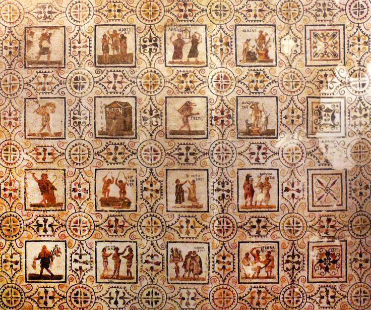 CALENDARIO ROMANO. Mosaico de meses. Anfiteatro El Djem, Túnez. Siglo 3 d. C. Museo Arqueológico Sousse, Túnez.