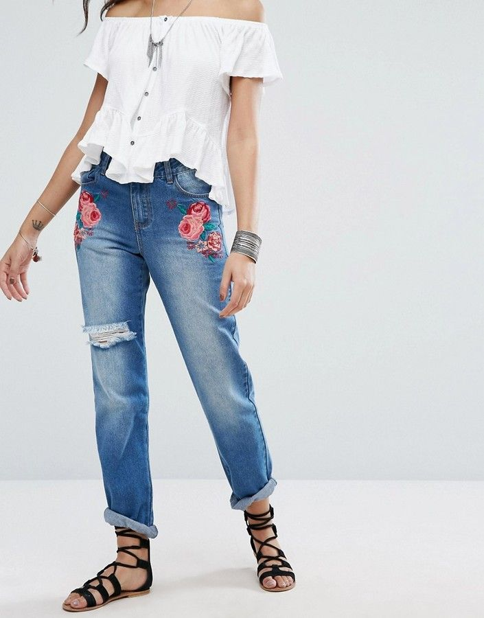 Boohoo Embroidered Jeans With Distressing