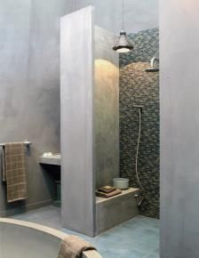 concrete shower with seat. Ultimate shower. Minimal.  Mosaic tile