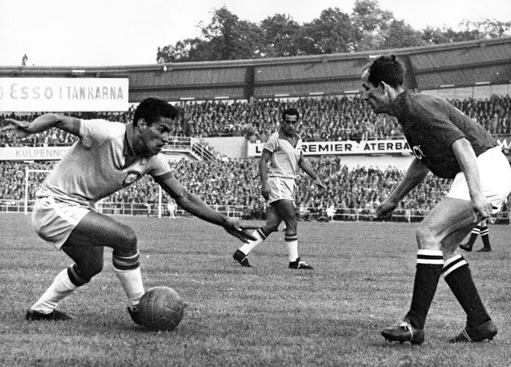 """Garrincha: the bow legged wonder kid from the jungle. Pele was loved, Garrincha adored. The """"Little Bird"""" won the World Cup twice with Brazil in 1958 and 1962. Brazil never lost a match when Pele and Garrincha were on the pitch together. #Dribbler #Legend #Brazil"""