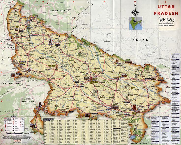 Uttar Pradesh state; 2013_2 map, India; tourism travel brochure | by worldtravellib World Travel library