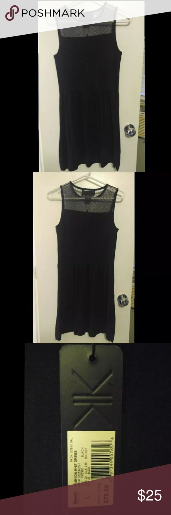 "Black Kim Kardashian dress - new with tags Kim Kardashian dress new with tags, size L, cute, lightweight material with a mesh top. I believe the dress comes to my knees (I'm 5'2""). Kardashian Kollection Dresses"