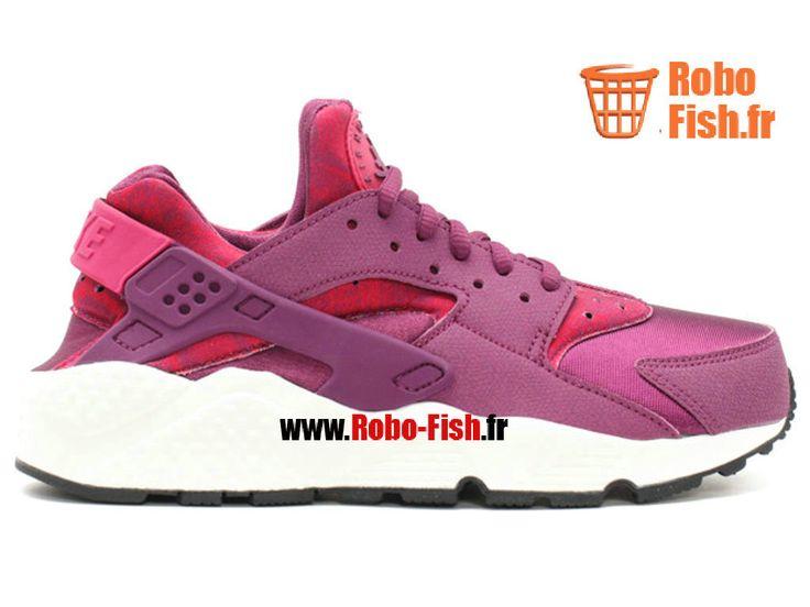 Nike Air Huarache Run Print - Chaussure Nike Running Pas Cher Pour Homme Murier Fuchsia Sport Noir 725076-500