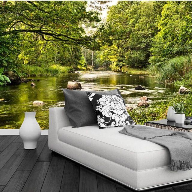 Kundenspezifische große wandbilder, Sommer Flüsse Wälder Bäume Natur tapeten, wohnzimmer sofa TV wand schlafzimmer papel de parede