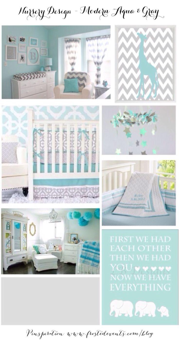 Nursery Design – Modern Aqua & Gray Ideas & Inspiration  www.frostedevents.com  #baby #nursery #nurseryideas #aquaandgray
