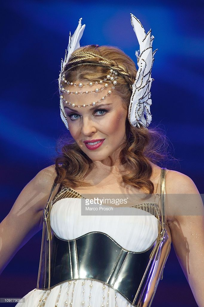 Australian singer <a gi-track='captionPersonalityLinkClicked' href=/galleries/search?phrase=Kylie+Minogue&family=editorial&specificpeople=201671 ng-click='$event.stopPropagation()'>Kylie Minogue</a> performs during her 'Aphrodite - Les Folies Tour 2011' at the Arena on March 4, 2011 in Leipzig, Germany.