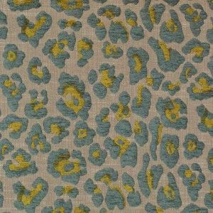 Gaga Aqua Chenille Animal Print Upholstery Fabric By