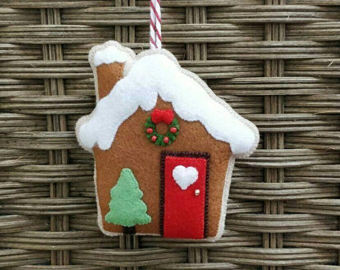 Navidad fieltro adorno de casa de pan de jengibre
