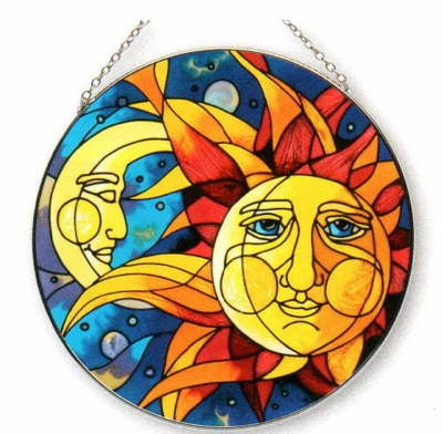 Quot Stained Glass Quot Celestial Sun Amp Moon Face Suncatcher 6