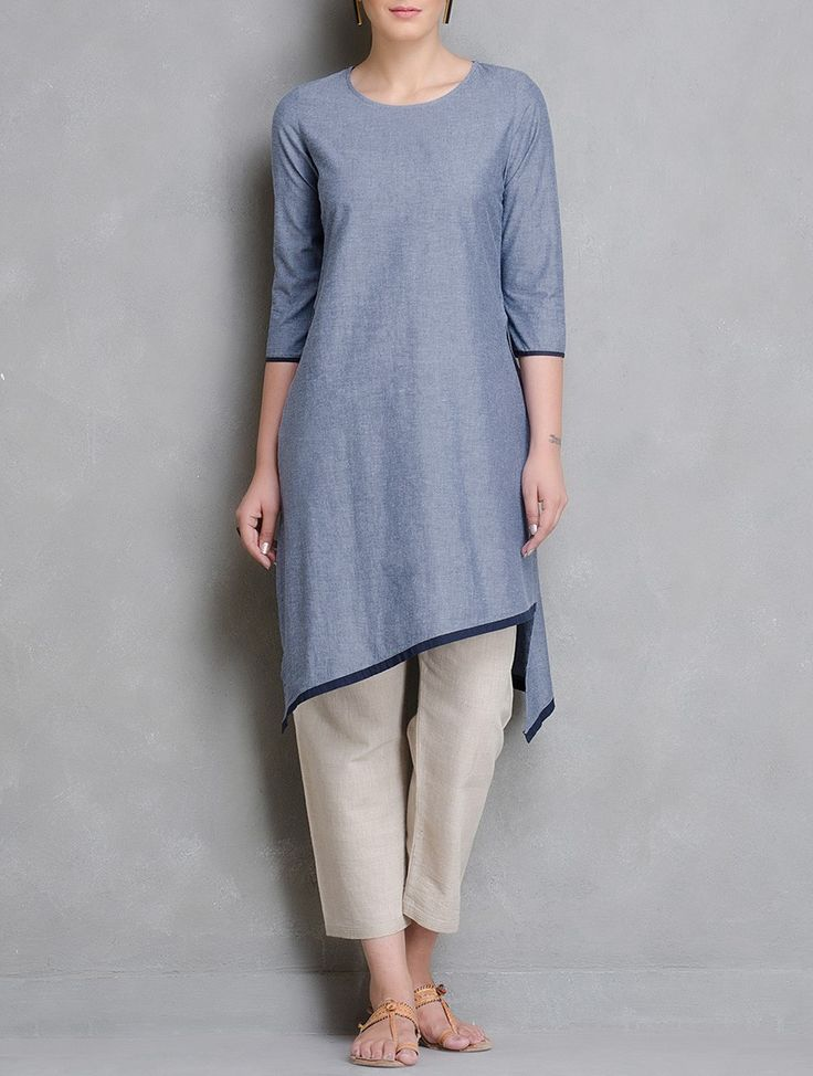 Buy Blue White Grey Asymmetrical Hem Chambrey Kurta Cotton Women Kurtas Woman Divine Contemporary and Tunics Online at Jaypore.com
