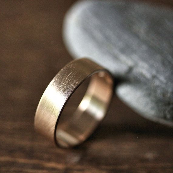 Gold Men's Wedding Band 6mm Wide Brushed Flat 14k by TheSlyFox