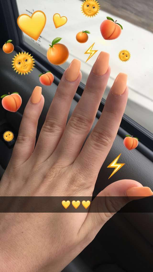 Fashion Simple Acrylic Nails Peach Nails Nails Tumblr